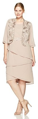 Le Bos Women's Plus-Size Embroided Waist Asymmetrical Jacket Dress Dress
