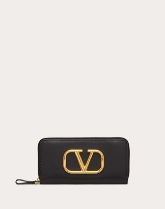 Valentino Vlogo Signature Zippered Wallet In Calfskin Leather Women Black Calfskin 100% OneSize