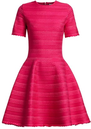 Oscar de la Renta Jacquard Stripe Short-Sleeve Mini A-Line Dress
