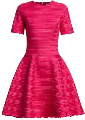 Oscar de la Renta Jacquard Stripe Short-Sleeve Mini A-Line Dress