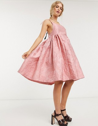 Sister Jane mini prom dress with tie straps in rose jacquard