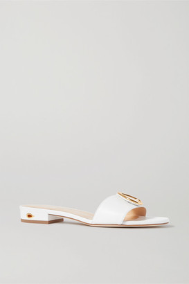 Jennifer Chamandi Andrea Embellished Leather Sandals - White