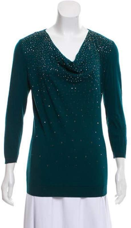 Magaschoni Cashmere Embellished Sweater w/ Tags Green Cashmere Embellished Sweater w/ Tags
