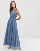 Asos Design DESIGN Bridesmaid maxi dress with pearl and sequin embellished drape bodice