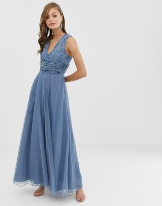 Asos Design DESIGN Bridesmaid maxi dress with pearl and sequin embellished drape bodice-Blue