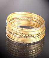 set of 13 - gold assorted metal thin bangles