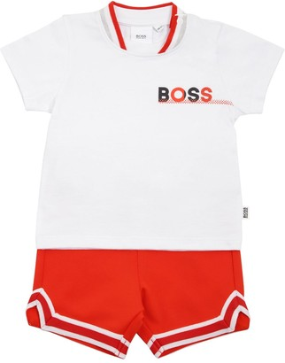 HUGO BOSS COTTON JERSEY T-SHIRT & ACETATE SHORTS