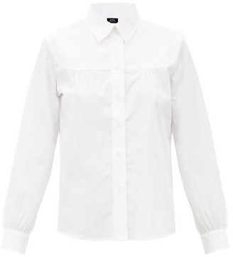 A.P.C. Pascale Gathered Cotton-poplin Shirt - White