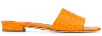 Paris Texas Crocodile-Effect Low-Heel Sandals