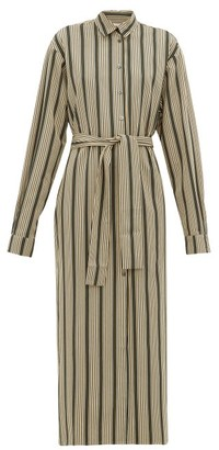 Marios Schwab On The Island By Kambos Striped-twill Shirtdress - Womens - Green Stripe