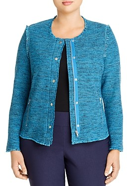Nic and Zoe Plus Fringe Trimmed Marled Knit Sweater Jacket