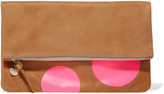 Clare Vivier Neon fold-over printed suede clutch