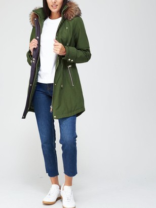 Very Luxe Parka With Pu Trim - Khaki