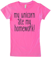 Micro Me Hot Pink 'Unicorn Ate My Homework' Tee - Infant Toddler & Girls