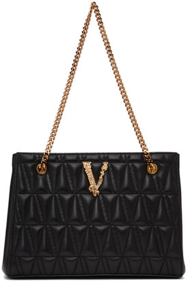 Versace Black Small Quilted Virtus Tote