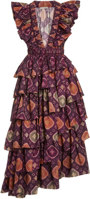 Ulla Johnson Viola Asymmetric Tiered Silk Dress