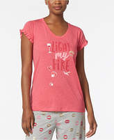 Hue Light My Fire Graphic-Print Ruffle-Sleeve Pajama Top