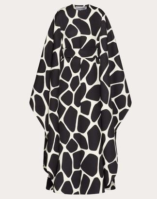 Valentino Printed Double Wool Cape Women Ivory/black Virgin Wool 100% 36