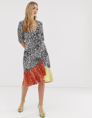 Liquorish midi wrap dress in mixed animal print