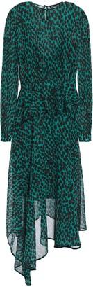 Markus Lupfer Rosie Asymmetric Leopard-print Georgette Peplum Midi Dress