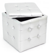 Lumisource Chic Silver Tufted Cube Storage Ottoman