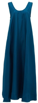 ASCENO The Capri Low-back Silk Midi Dress - Blue