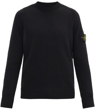 Stone Island Logo-patch Ribbed Wool-blend Sweater - Black