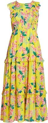 Banjanan Iris Floral Ruffle Maxi Dress