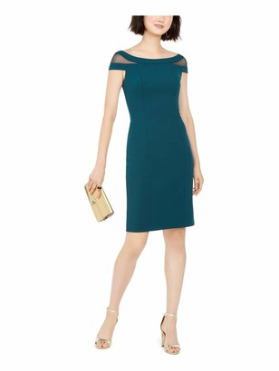 Vince Camuto Womens Green Cap Sleeve Boat Neck Above The Knee Sheath Cocktail Dress Size: 4