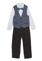 Perry Ellis White & Gray Textured Vest Set - Toddler & Boys