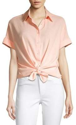 Lord & Taylor Short-Sleeve Cotton Button-Down Tie-Front Shirt