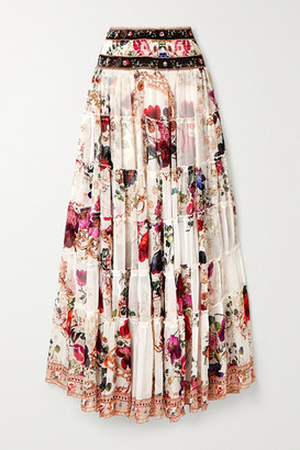 Camilla Tiered Crystal-embellished Floral-print Silk-crepon Maxi Skirt - White