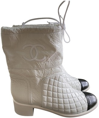 Chanel White Leather Boots