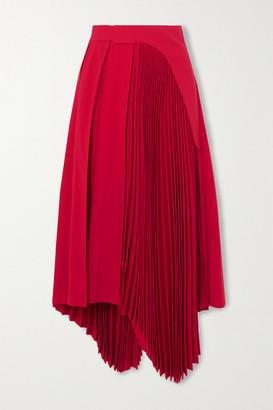 Ambush Asymmetric Pleated Twill Midi Skirt - Red