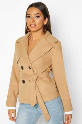 boohoo Belted Wool Look Short Trench Coat