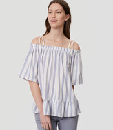 LOFT Striped Ruffle Off The Shoulder Top