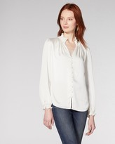 Vince Camuto Smocked-detail Button-front Blouse