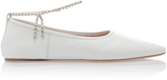 Miu Miu Crystal-Strap Leather Ballet Flats