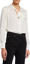 7 For All Mankind Tie-Neck Button-Down Blouse