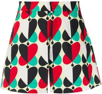 La DoubleJ Heart-Print High-Waisted Shorts