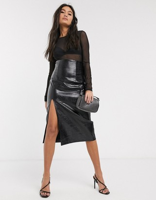Topshop faux leather pencil skirt in black