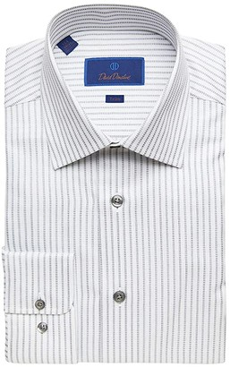 David Donahue Trim Fit Broken Stripe Dress Shirt (White/Gray) Men's Dress