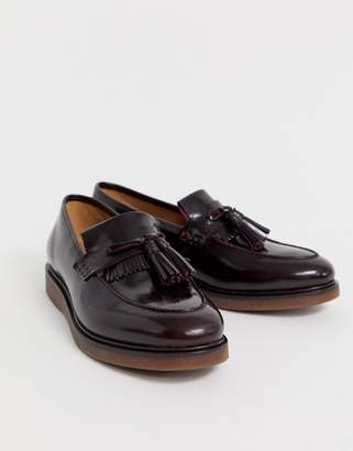 H By Hudson Calne loafers in burgundy high shine-Red