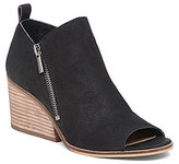 Lucky Brand Sinzeria Leather Peep-Toe Stacked Heel Shooties