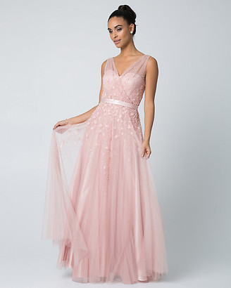 Le Château Beaded Tulle V-Neck Gown