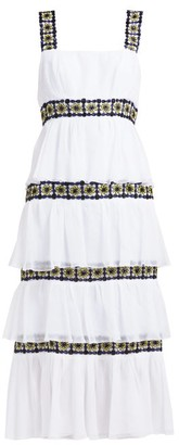 Carolina Herrera Floral Beaded Tiered Silk Chiffon Midi Dress - Womens - White Black