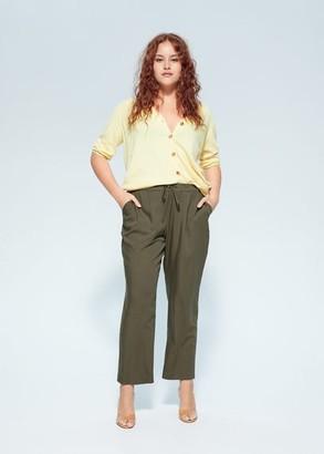 MANGO Violeta BY Flowy straight-fit pants khaki - S - Plus sizes