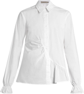 Preen Line Octavia point-collar gathered-panel cotton shirt