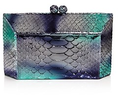 Nancy Gonzalez Metallic Python Box Clutch