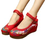 Qhomeshoes Qhome Women's Chinese Phoenix Embroidered Oxfords Rubber Sole Cheongsam Shoes